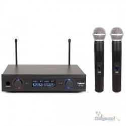Microfone Duplo Sem Fio Profissional Uhf Digital 60m Bivolt - TOMATE